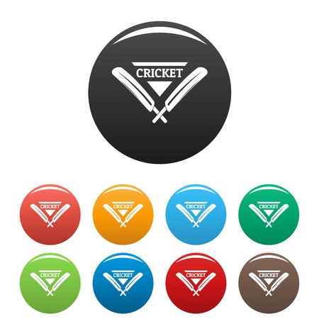 Cricket icons set 9 color vector isolated on white for any design