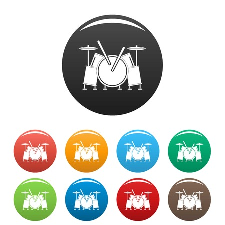Musical drums icons set 9 color vector isolated on white for any design