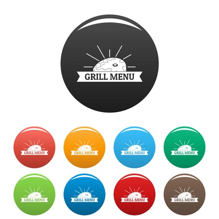 Bbq grill menu icons set 9 color vector isolated on white for any design