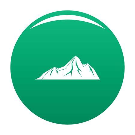 Tall mountain icon vector green