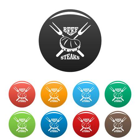 Beef steaks icons set 9 color vector isolated on white for any design