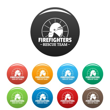 Firefighters rescue team icons set color
