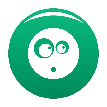 Surprised smile icon vector green Illustration