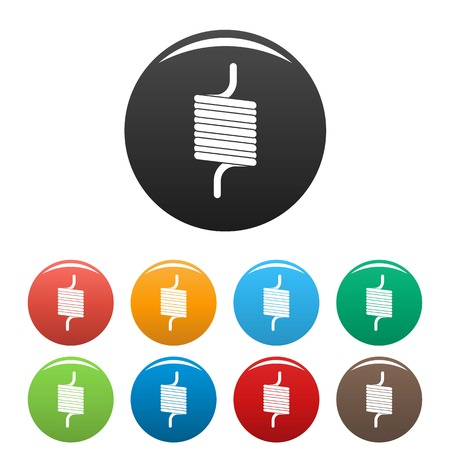 Double spring coil icons set color