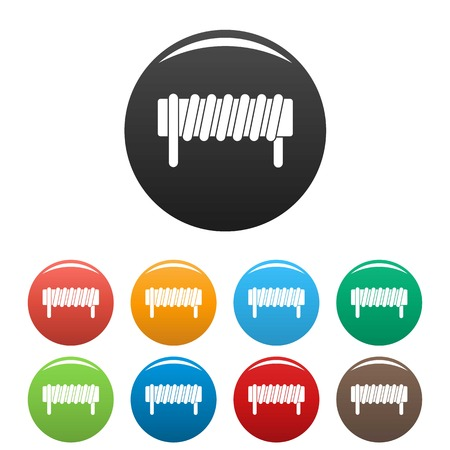 Induction spring coil icons set color