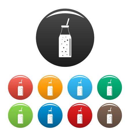Mango smoothie icons set color 矢量图像