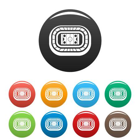 Ice hockey arena icons set 9 color vector isolated on white for any design