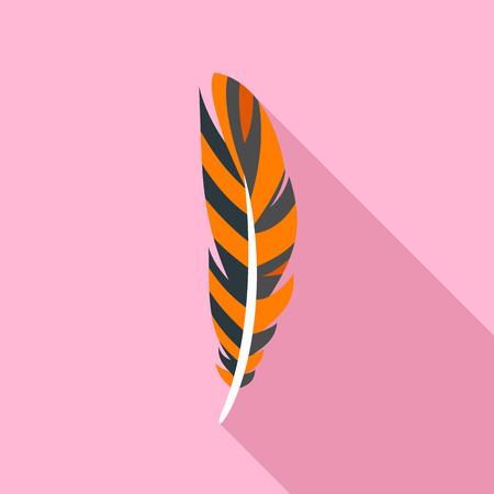 Decorative feather icon, flat style
