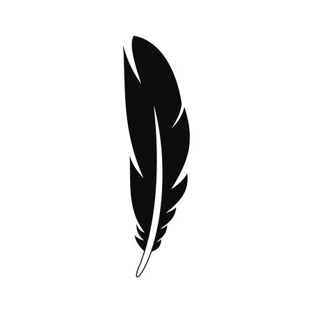 Decorative feather icon, simple style