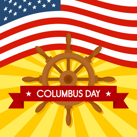National columbus day concept background, flat style Stockfoto