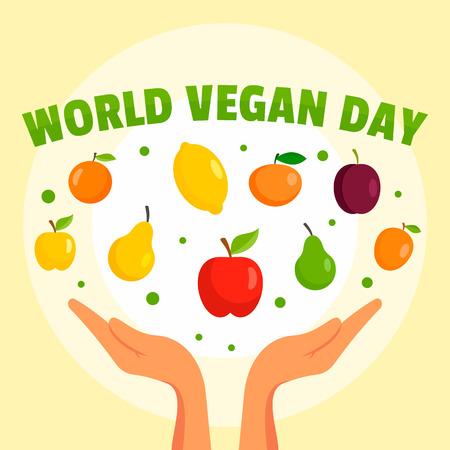 World vegan day concept background, flat style Stock Photo