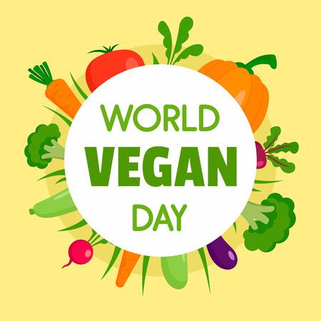 Happy vegan day concept background, flat style Stock Photo