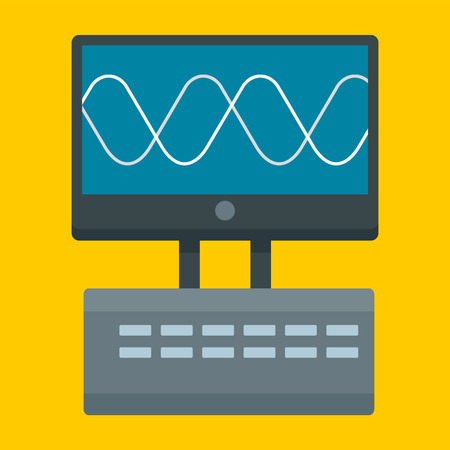 Oscillation device icon, flat style