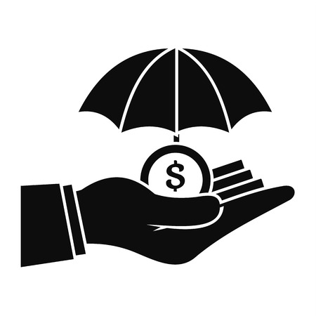 Safe money hand icon, simple style Stock Photo