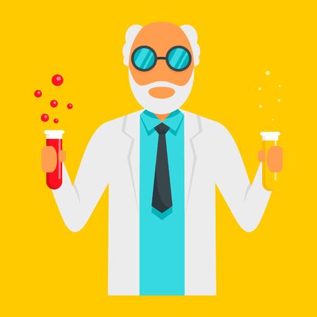 Scientific man icon, flat style