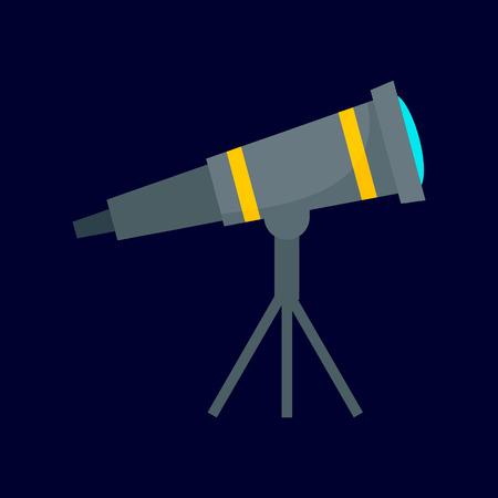 Space telescope icon, flat style