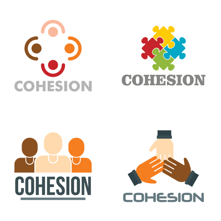 Cohesion vector set, flat style Stock Photo