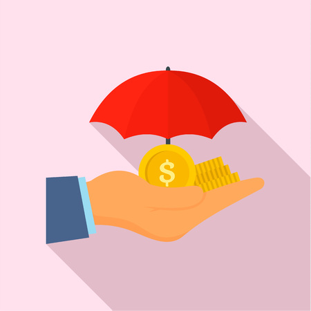 Safe money hand icon, flat style Stock Photo