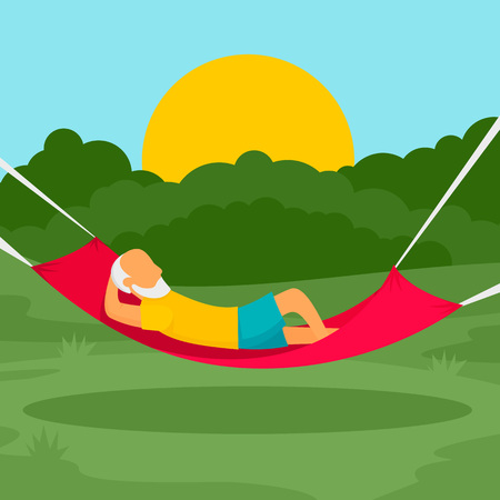 Old man rest hammock concept background, flat style
