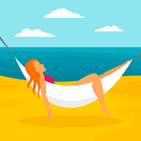 Woman beach hammock concept background, flat style 版權商用圖片