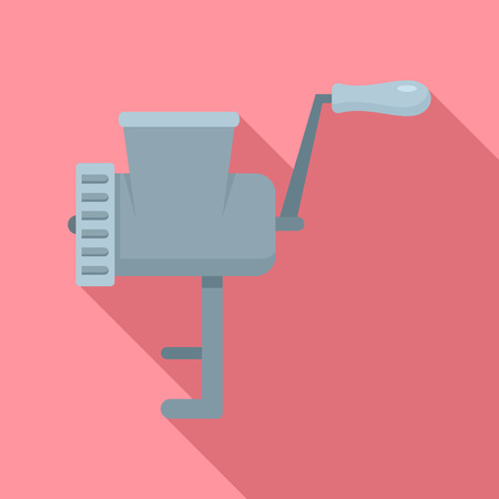 Retro meat grinder icon, flat style Stock Photo