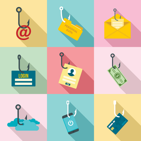 Phishing icon set, flat style Stockfoto