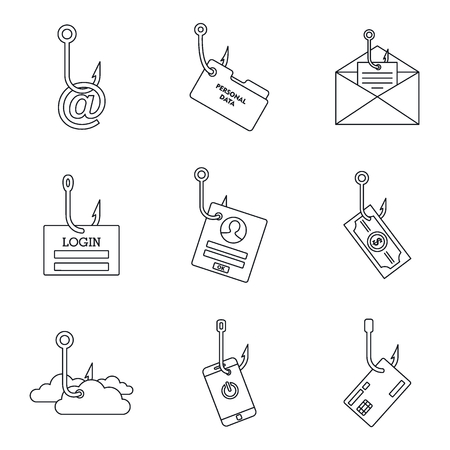 Cyber phishing icon set, outline style