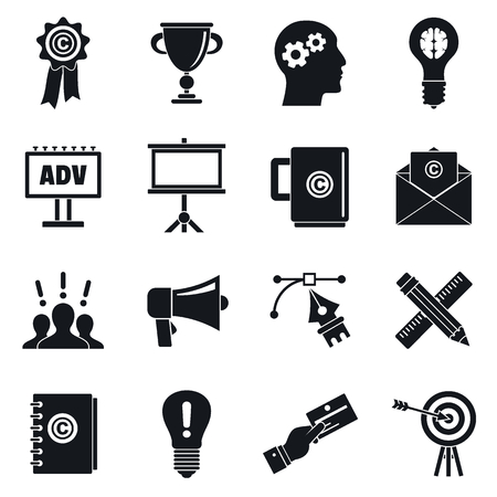 Brand marketing icon set, simple style