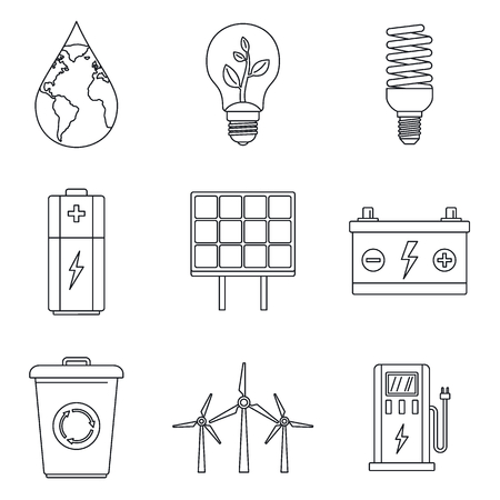 Save energy icon set, outline style Stock Photo