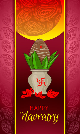 Happy navratry concept banner, cartoon style
