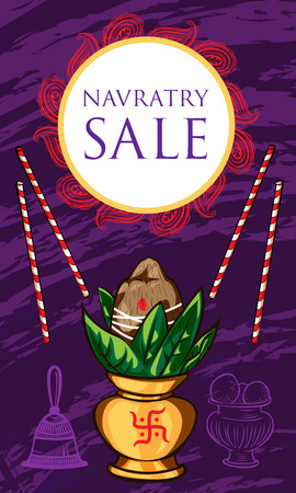 Navratry sale concept banner, cartoon style