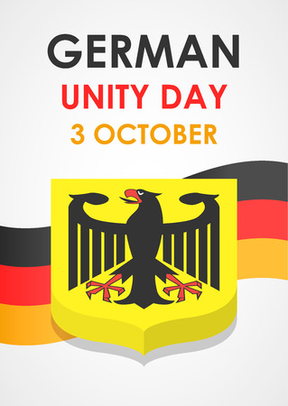 Happy german unity day concept background, isometric style