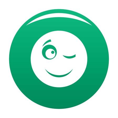 Winks smile icon green Stock Photo