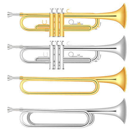 Trumpet icon set, realistic style