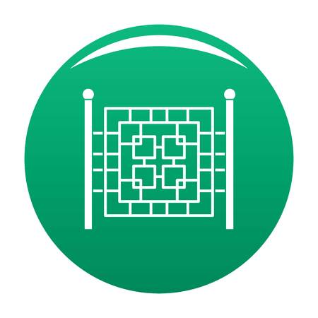 Fence with metal square icon vector green Vettoriali