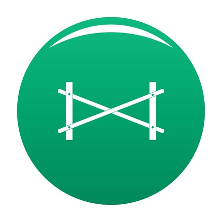 Fence of two rod icon vector green