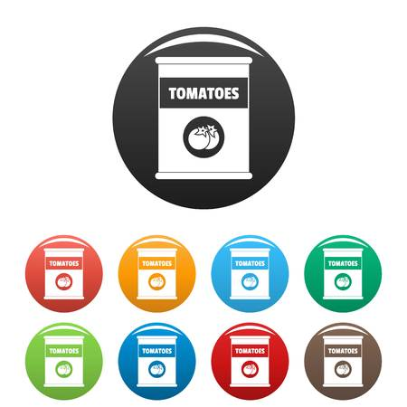 Tomatoes can icons set 9 color vector isolated on white for any design Illustration