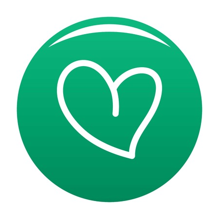 White heart icon vector green Illustration