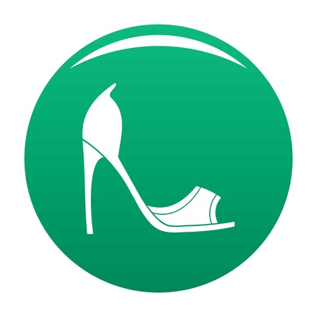 Woman shoes icon vector green Illustration