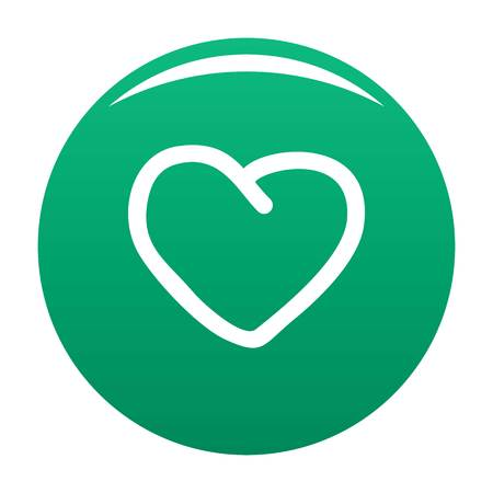 Big heart icon vector green Illustration