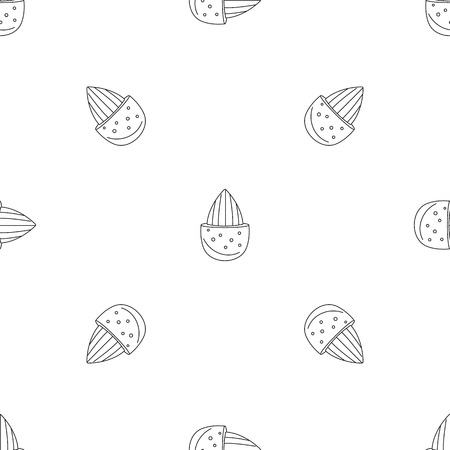 Half shell almond pattern seamless vector Vector Illustratie