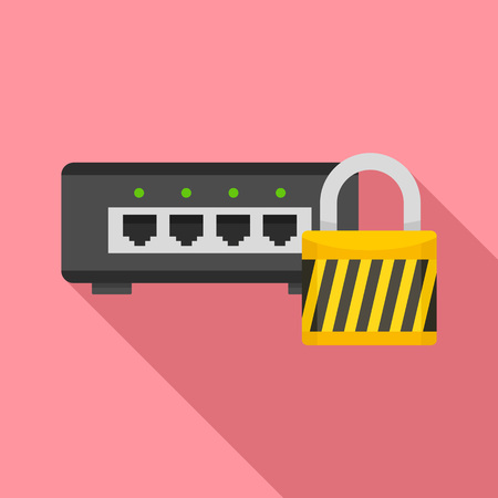 Router protected icon. Flat illustration of router protected vector icon for web design