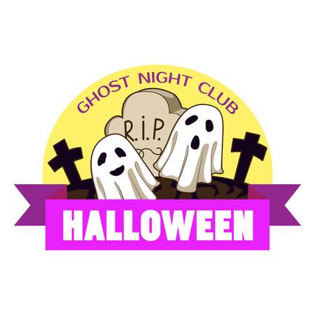 Halloween ghost night, Cartoon of halloween ghost night vector for web design isolated on white background Ilustracja