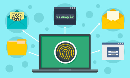 Fingerprint laptop security concept background. Flat illustration of fingerprint laptop security vector concept background for web design