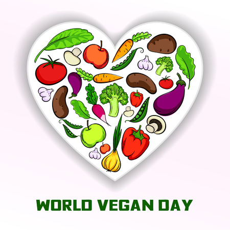 World vegan day concept background. Cartoon illustration of world vegan day vector concept background for web design Illustration