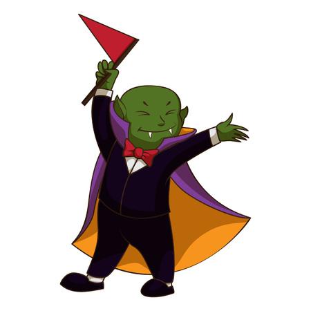 Happy vampire kid icon. Cartoon of happy vampire kid vector icon for web design