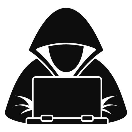 Hacker-Laptop-Symbol. Einfache Illustration der Hacker-Laptop-Vektorikone für das Webdesign lokalisiert auf weißem Hintergrund