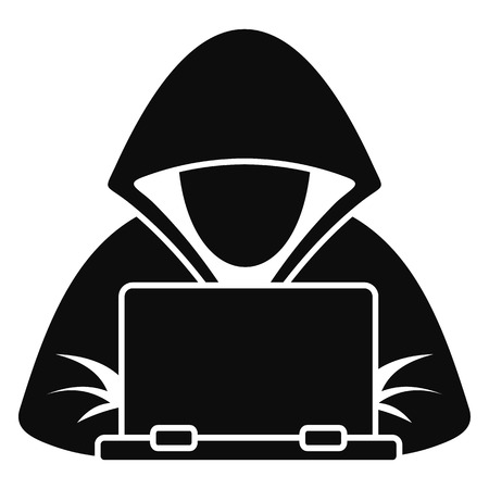 Hacker laptop icon. Simple illustration of hacker laptop vector icon for web design isolated on white background
