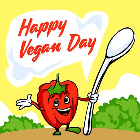 Happy vegan day concept background, cartoon style Illustration