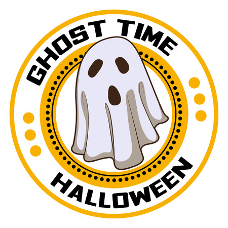 Halloween ghost time logo. Cartoon of halloween ghost time vector logo for web design isolated on white background Illustration